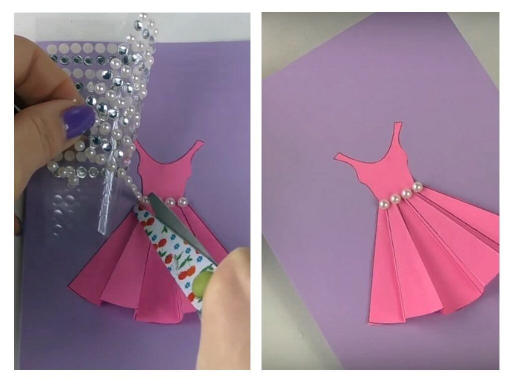 Как сделать платье из салфетки для открытки