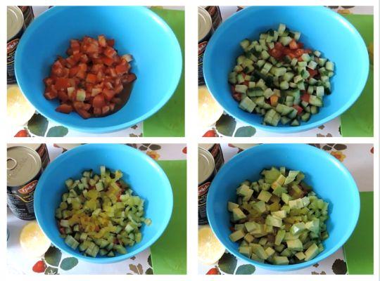 нарезаем кубиками все овощи