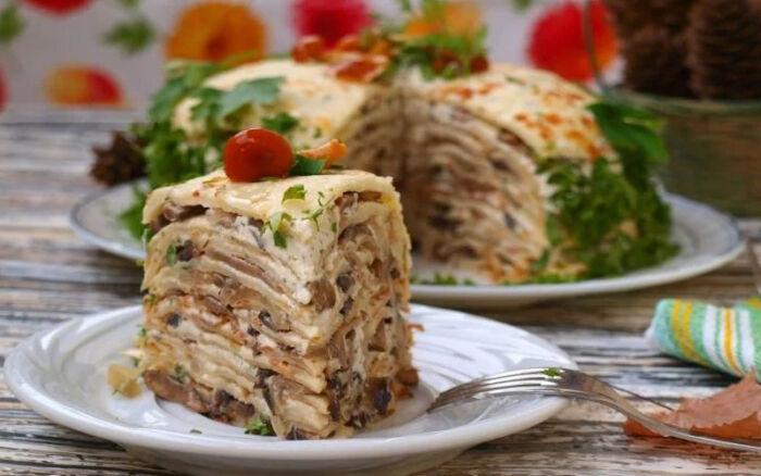 Как испечь несладкий блинный торт — 7 вкусных закусочных тортов