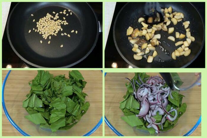 салат из шпината с грибами и орехами