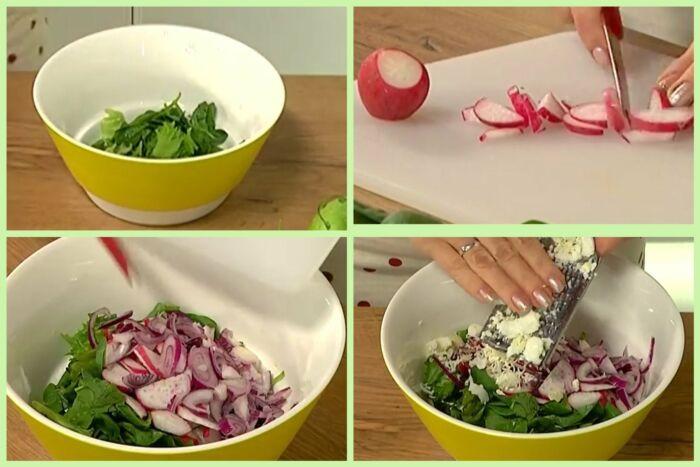 салат со шпинатом, редисом и яблоком