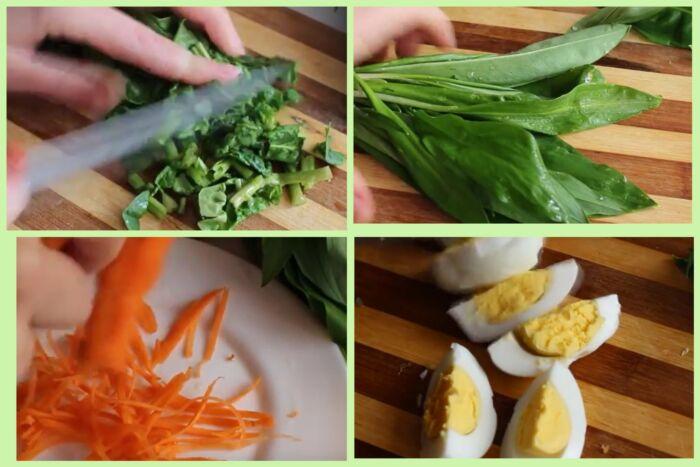 нарезаем шпинат, черемшу, морковь и яйца