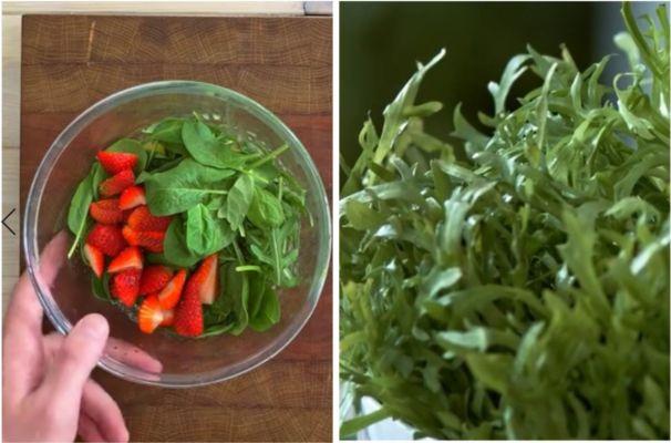 смешиваем зелень и клубнику