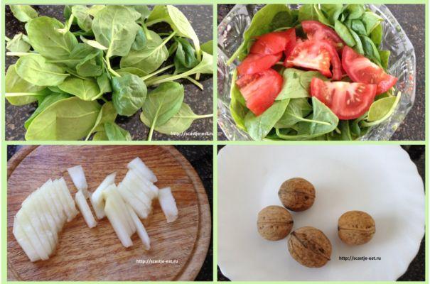 помидоры, дыню и орехи добавляем к шпинату