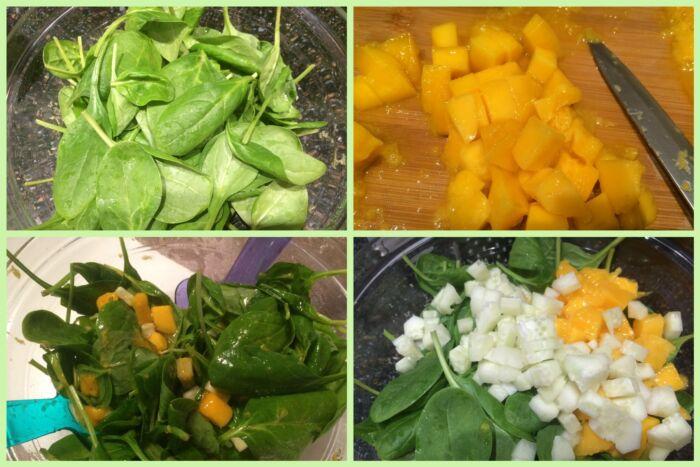 нарезаем манго, огурцы и добавляем к шпинату