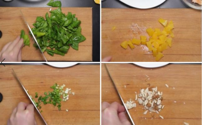 нарезаем шпинат, апельсин, лук и миндаль