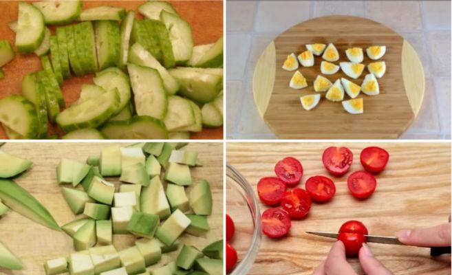 нарезаем огурцы, помидоры, авокадо и яйца