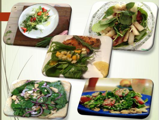 вегетарианские салаты из шпината