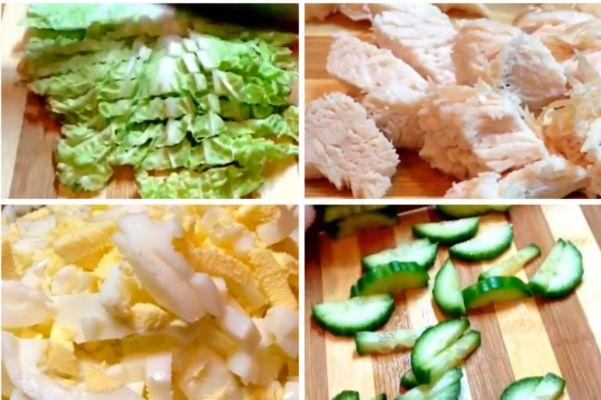 нарезаем капусту, яйца, грудку и огурцы