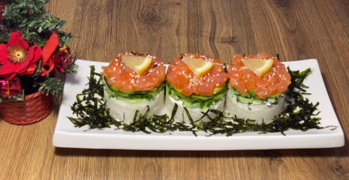 салат-суши с семгой